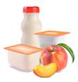 yogurt and peach vector image