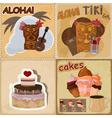 food and Hawaiian masks vector image vector image