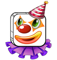 A square-faced clown with a party hat vector image