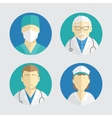 flat design people icons doctor and nurse vector image