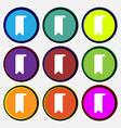bookmark icon sign Nine multi-colored round vector image