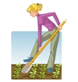 Young woman digging spring soil with shovel vector image