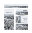 Business cards design foggy winter forest vector image