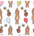 Cute bear flying on a balloon seamless pattern vector image