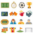 football sports flat icons soccer game vector image