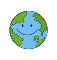 planet earth globe with cute face smiling for vector image