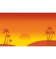 Silhouette of hill and palm scenery vector image