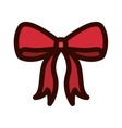 Red Christmas bow with outline thickness vector image