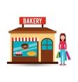 girl bakery shopping gift buying vector image