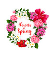 wreath of spring flowers and bouquets vector image
