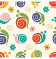 Cute pattern with snails and flowers vector image vector image