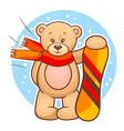 teddy bear with snowboard vector image