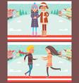 couples having fun in winter vector image
