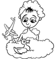 cute little boy in bath coloring page vector image