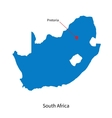 Detailed map of South Africa and capital city vector image
