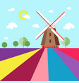 mill in abstract lavender fields with trees vector image