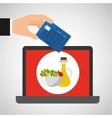 shopping online concept order salad oil food vector image