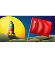 A spaceship with the flag of China in the vector image vector image