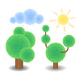 textured trees cloud and sun optimistic summer vector image