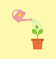 Watering Pot With Little Tree vector image