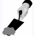 hand with trowel and cement vector image vector image