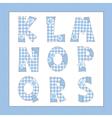 Blue fabric alphabet Letters K L M N O P Q R S vector image