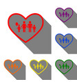 family sign in heart shape set of vector image