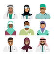 medical practitioner and nurse face icons vector image