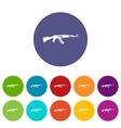 Military rifle set icons vector image