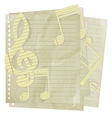 paper treble clef and music notes on sheet in line vector image