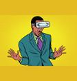 shocked african american in vr glasses vector image