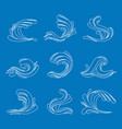 thin line ocean or sea blue waves icons set vector image