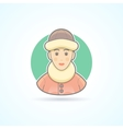 Warm dressed woman polar explorer icon vector image