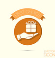 hand holding a Holiday Gift Box Icon EPS 8 vector image