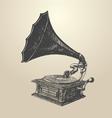 Phonograph - vintage engraved retro vector image