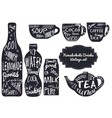 Drinks stylish icons with lettering effects vector image