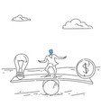 businessman balancing between money and light bulb vector image