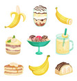 different dishes of bananas set healthy and vector image