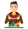 Man eating watermelon vector image