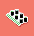 paper sticker sushi and sticks vector image