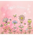 simple flowers on a beautiful pink background vector image