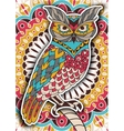 Printable coloring book page for adults - owl vector image