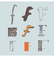 set of colorful alphabet letters F vector image