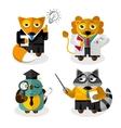 Animal professions cartoon characters set vector image