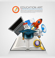open book with a set of objects art sign vector image