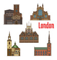 london travel landmark of british church icon set vector image