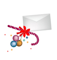 A Candy Cane with Christmas Balls and Letter vector image