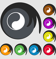 Yin Yang icon sign Symbol on eight colored buttons vector image