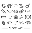 twenty line meat icons vector image
