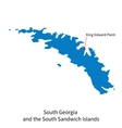 Detailed map of South Georgia and the South vector image